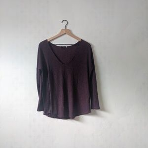 BDG M Maroon and Navy Striped Thin Sweater